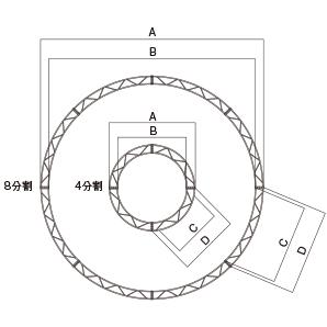 円トラス・クランプ型φ3000 1/4